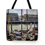 Wharf Ships Tote Bag by Heather Applegate