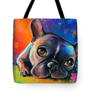 Whimsical Colorful French Bulldog  Tote Bag by Svetlana Novikova