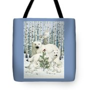 White Animals Red Bird Tote Bag by Lynn Bywaters