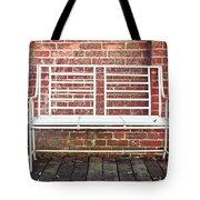 White Bench Tote Bag by Tom Gowanlock