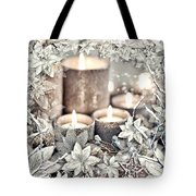 White Christmas Tote Bag by Mo T
