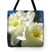 White Daffodils Flowers Art Prints Spring Tote Bag by Baslee Troutman