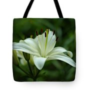 White Lily Tote Bag by Sandy Keeton