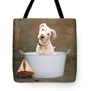 White Pitbull Puppy Portrait Tote Bag by James BO  Insogna