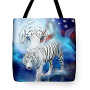 White Tiger Moon - Patriotic Tote Bag by Carol Cavalaris