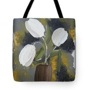 White Tulips Tote Bag by Leana De Villiers