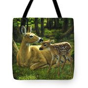 Whitetail Deer - First Spring Tote Bag by Crista Forest