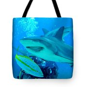 Who Said Sharks Were Mean Tote Bag by John Malone