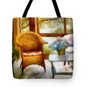 Wicker Chair and Cyclamen Tote Bag by Michelle Calkins
