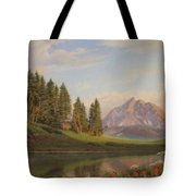 Wildflowers Mountains River Western Original Western Landscape Oil Painting Tote Bag by Walt Curlee
