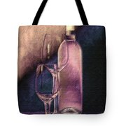 Wine Bottle With Glasses Tote Bag by Tom Mc Nemar