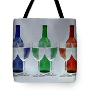 Wine Bottles and Glasses Illusion Tote Bag by Jack Schultz