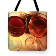 Wine Toast In Watercolor Tote Bag by Elaine Plesser