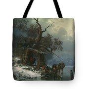 Winter landscape with figures on a frozen river Tote Bag by Heinrich Hofer