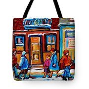 Winter Street In Saint Henri Tote Bag by Carole Spandau
