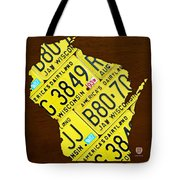 Wisconsin License Plate Map By Design Turnpike Tote Bag by Design Turnpike