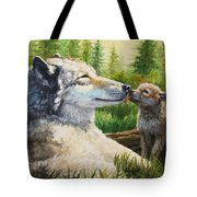 Wolf Painting - Spring Kisses Tote Bag by Crista Forest