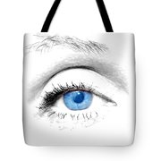 Woman Blue Eye Tote Bag by Michal Bednarek