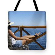 Woman Enjoying The View  Tote Bag by Aged Pixel