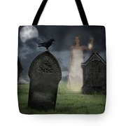 Woman Haunting Cemetery Tote Bag by Amanda And Christopher Elwell