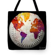 World Map - Rainbow Bliss Baseball Square Tote Bag by Andee Design