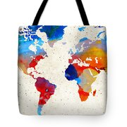 World Map 18 - Colorful Art By Sharon Cummings Tote Bag by Sharon Cummings
