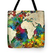 World Map Colorful Tote Bag by Gary Grayson