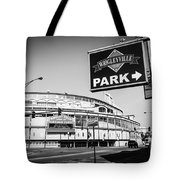Wrigley Field And Wrigleyville Signs In Black And White Tote Bag by Paul Velgos