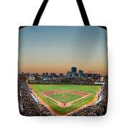 Wrigley Field Night Game Chicago Tote Bag by Steve Gadomski