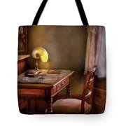 Writer - Desk Of An Inventor Tote Bag by Mike Savad