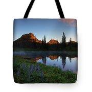 Yakima Peak Sunrise Tote Bag by Mike  Dawson