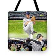 Yankees Vs Indians Tote Bag by Thomas J Herring