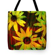 Yellow And Green Daisy Design Tote Bag by Ann Powell