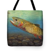 Yellowstone Cut Takes A Salmon Fly Tote Bag by Rob Corsetti