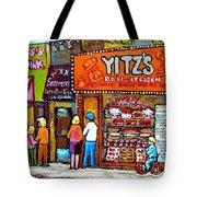 Yitzs Deli Toronto Restaurants Cafe Scenes Paintings Of Toronto Landmark City Scenes Carole Spandau  Tote Bag by Carole Spandau