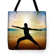 Yoga On Beach Tote Bag by Bedros Awak
