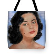 Young Liz Taylor Portrait Remake Version II Tote Bag by Jim Fitzpatrick