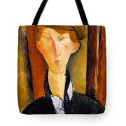 Young Man With Cap Tote Bag by Amedeo Modigliani