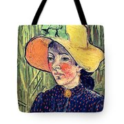 Young Peasant Girl In A Straw Hat Sitting In Front Of A Wheatfield Tote Bag by Vincent van Gogh