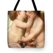 Young woman contemplating two embracing children Detail II Tote Bag by William Bouguereau