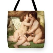 Young Woman Contemplating Two Embracing Children Detail Tote Bag by William Bouguereau
