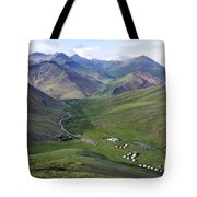 Yurts In The Tash Rabat Valley Of Kyrgyzstan Tote Bag by Robert Preston