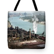 Zug Island Industrial Area Of Detroit Tote Bag by Bill Cobb