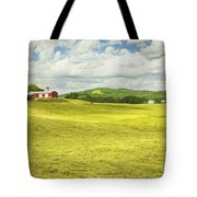 Hay Harvesting In Field Outside Red Barn Maine Tote Bag by Keith Webber Jr
