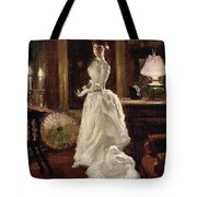 Interior Scene With A Lady In A White Evening Dress  Tote Bag by Paul Fischer