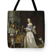 Lady At Her Toilette Tote Bag by Gerard ter Borch