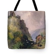 The Castle Of Katz On The Rhine Tote Bag by William Callow