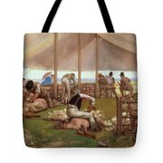 The Sheep Shearing Match Tote Bag by Eyre Crowe