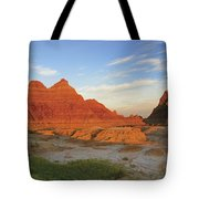 A Red Sunrise Illuminates The Hills In Tote Bag by Philippe Widling