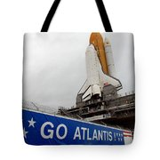 A View Space Shuttle Atlantis On Launch Tote Bag by Stocktrek Images